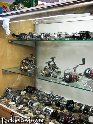 Display of fishing reels